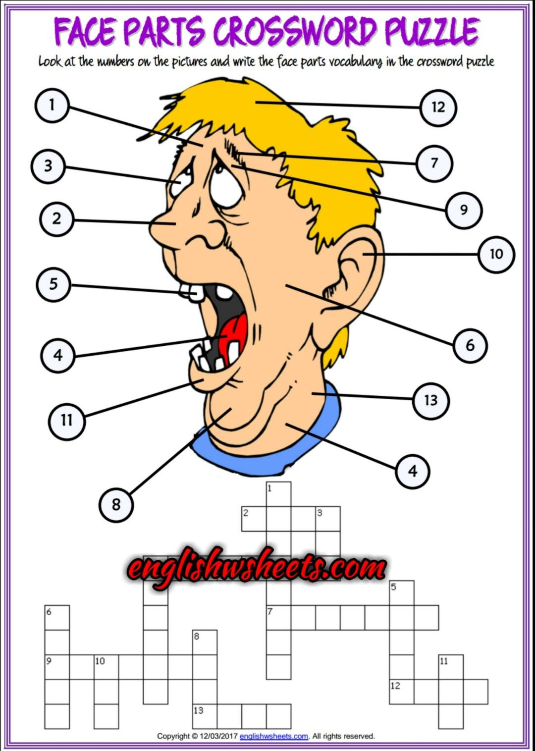 Face Parts Esl Printable Crossword Puzzle Worksheets For Kids | Esl - Printable Face Puzzle