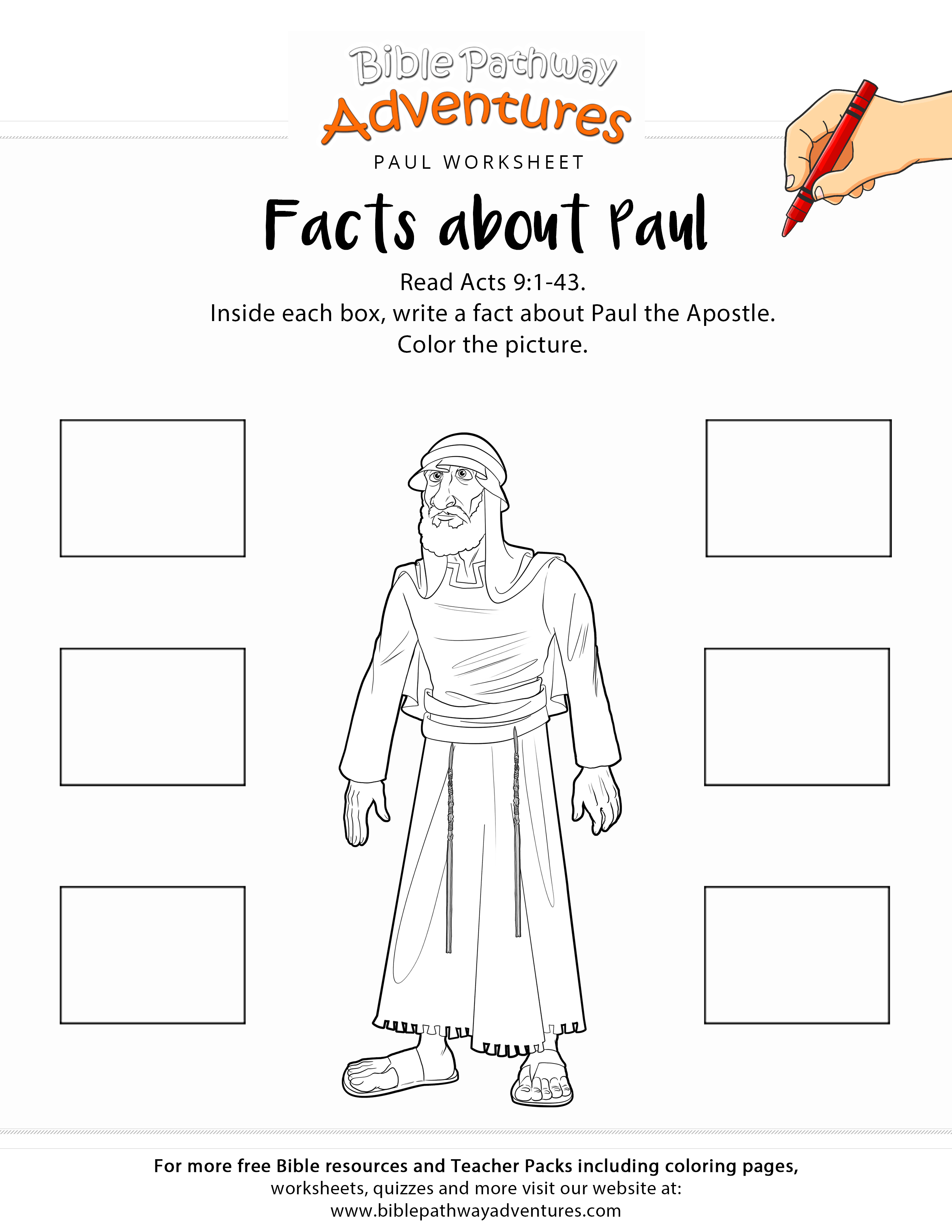Facts About Paul Printable Bible Worksheet | Adventure Zone | Bible - Printable Bible Crossword Puzzle The Apostle Paul Answers