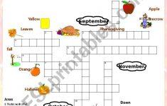 Fall Crossword Puzzle   Esl Worksheettchen Anastassia   Fall Crossword Puzzle Printable