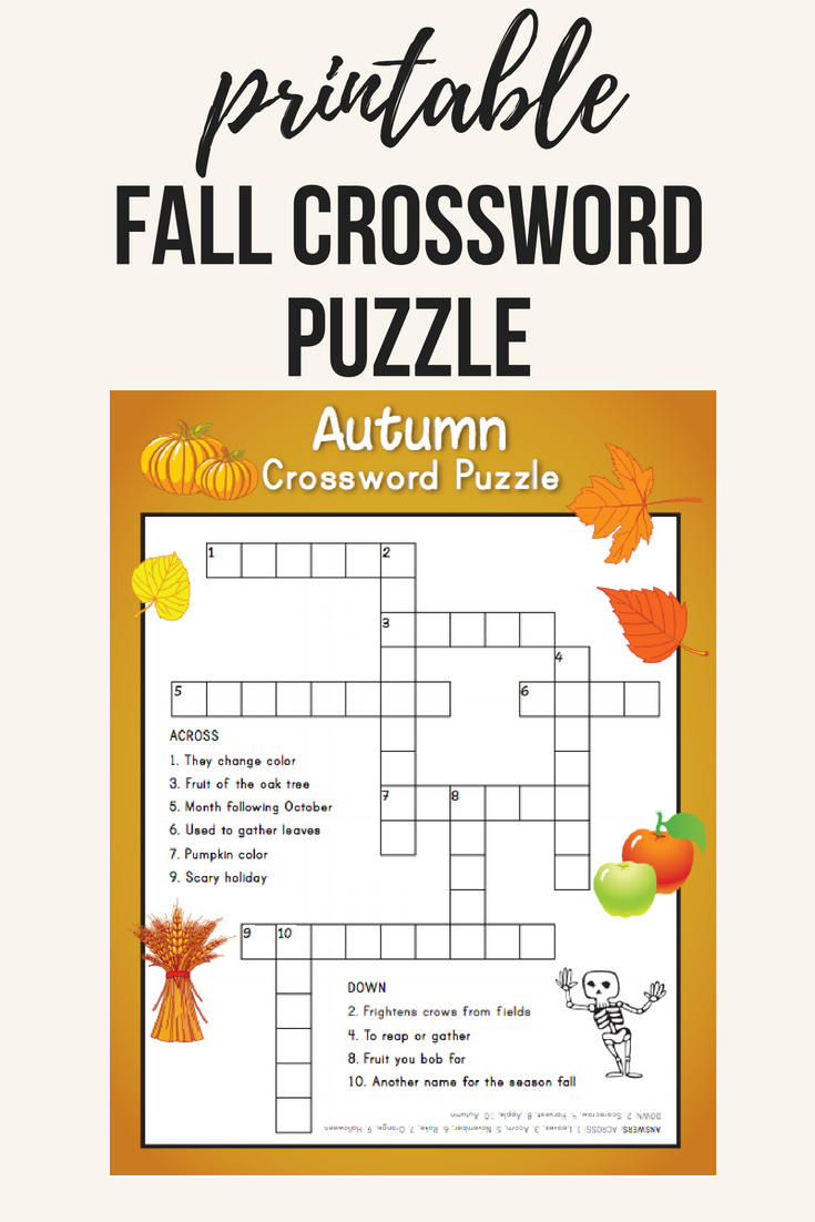 Fall Crossword Puzzle | Printables | Word Puzzles, Crossword, Puzzle - Printable Reading Puzzles