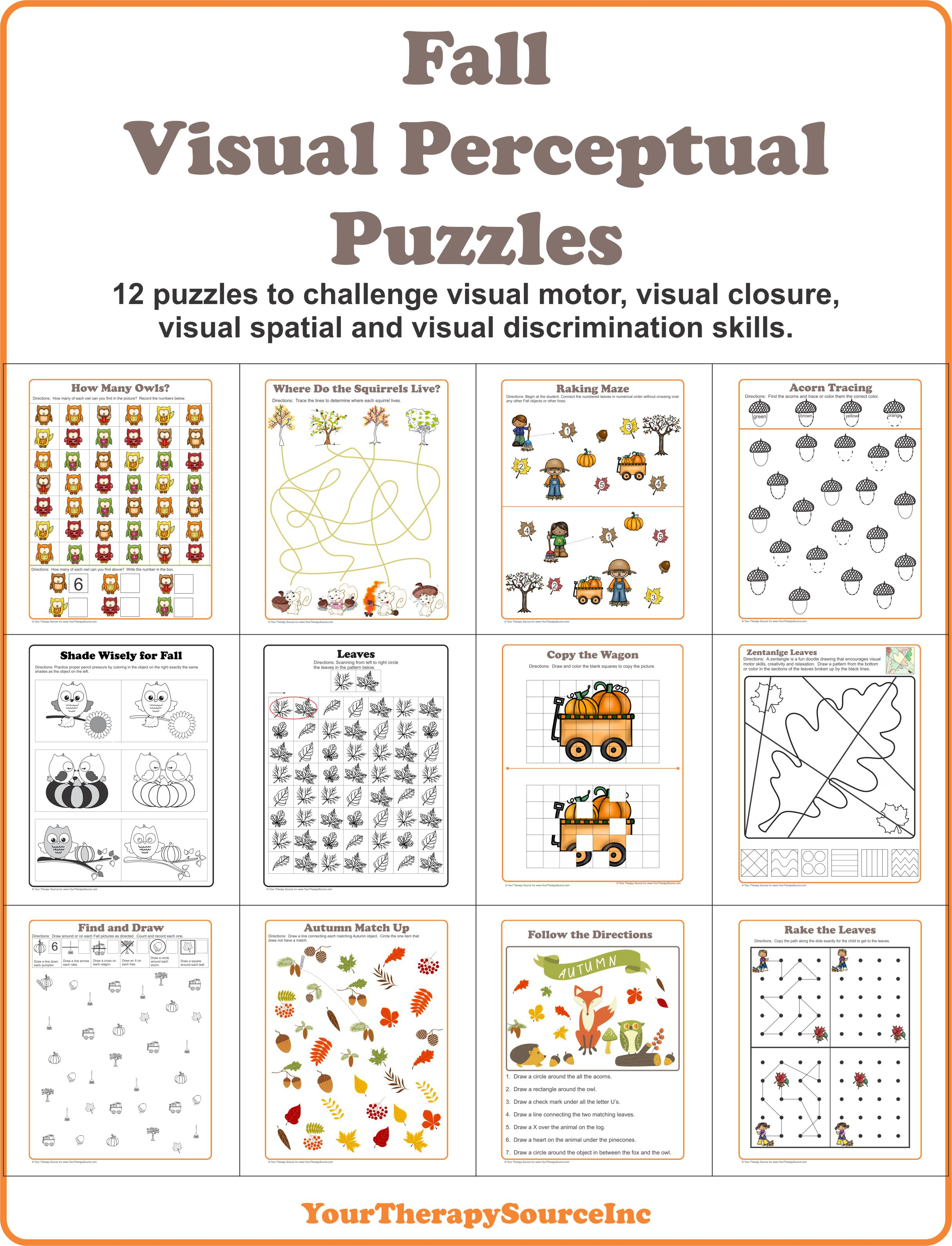 Fall Visual Perceptual Puzzles - Your Therapy Source - Free Printable Visual Puzzles