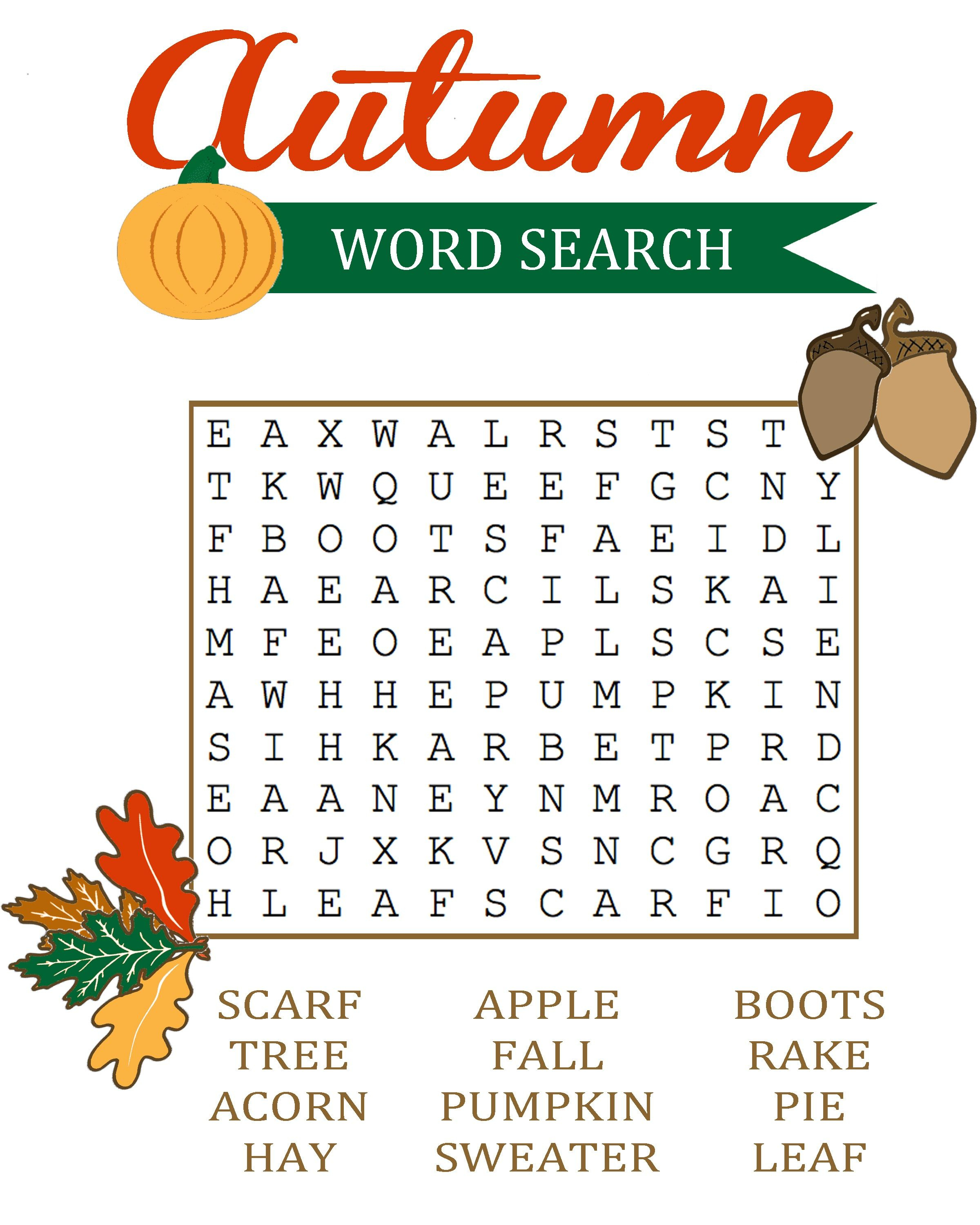 Fall Word Search For Brain Training | Educative Puzzle For Kids - Printable Drop Quote Puzzles