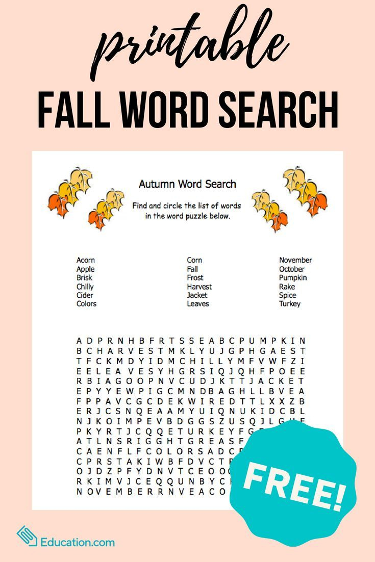 Fall Word Search | Freebies For Special Education | Fall Word Search - Printable Ela Puzzles