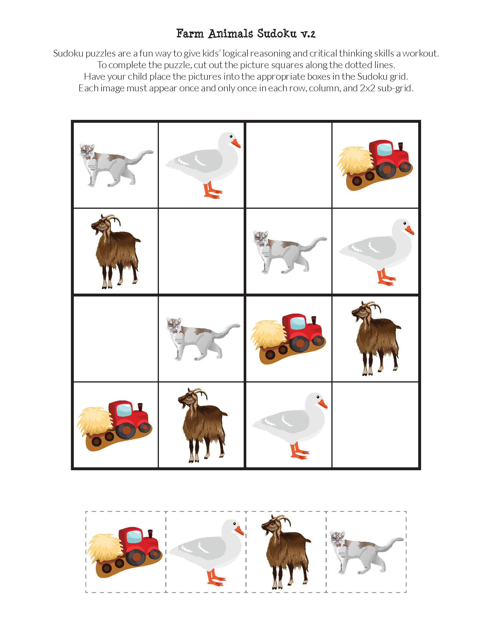 Farm Animals Sudoku Puzzles {Free Printables} - Gift Of Curiosity - Printable Animal Puzzles