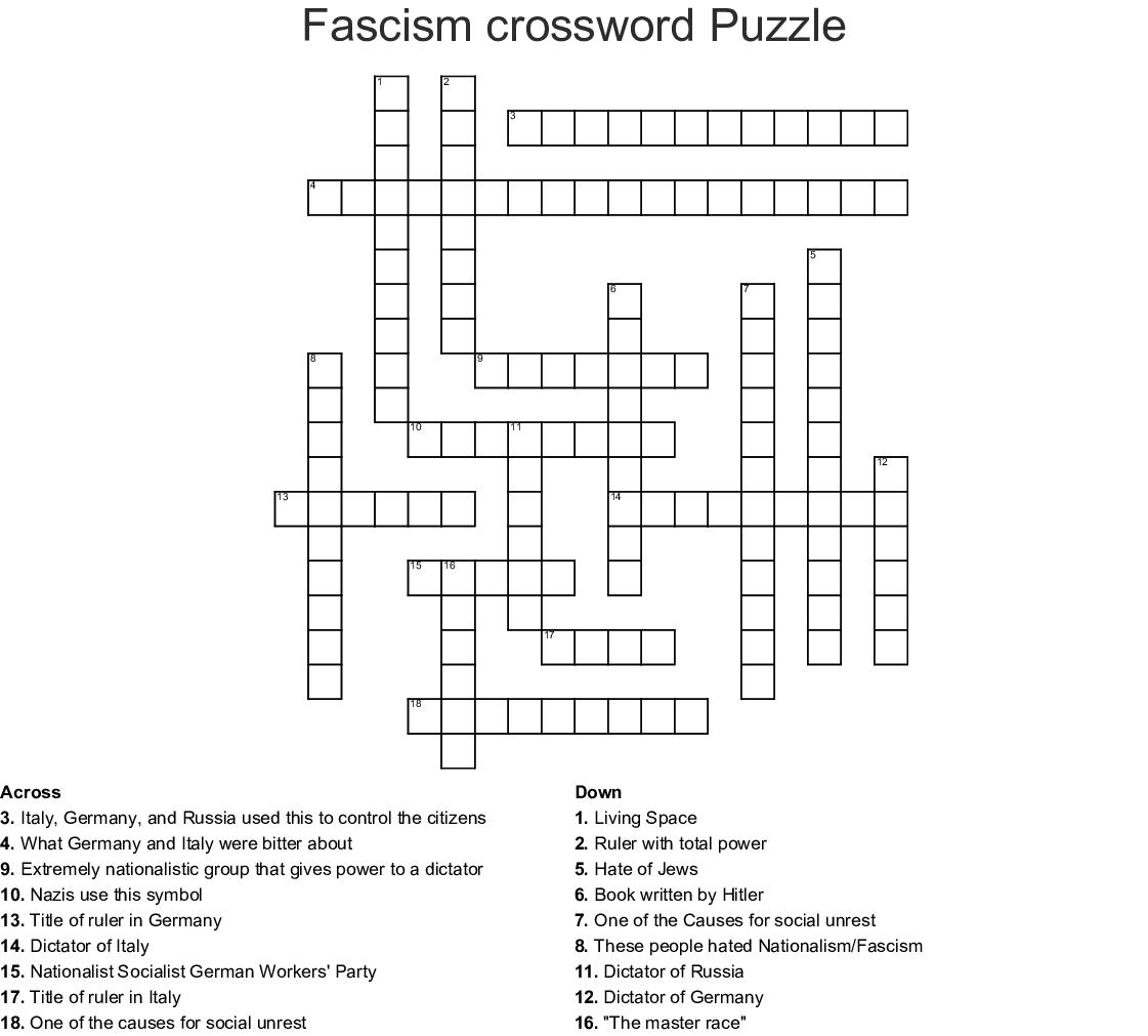 Fascism Crossword Puzzle Crossword - Wordmint - Printable German Crossword Puzzles