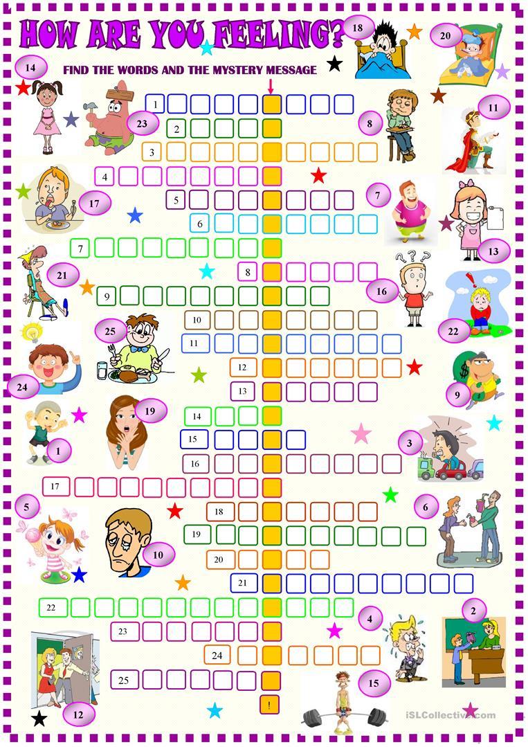 Feelings And Emotions Crossword Worksheet - Free Esl Printable - Feelings Crossword Puzzle Printable