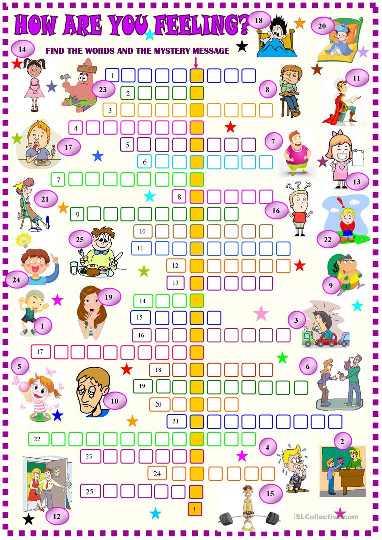 Feelings And Emotions Crossword Worksheet - Free Esl Printable - Printable Feelings Puzzle
