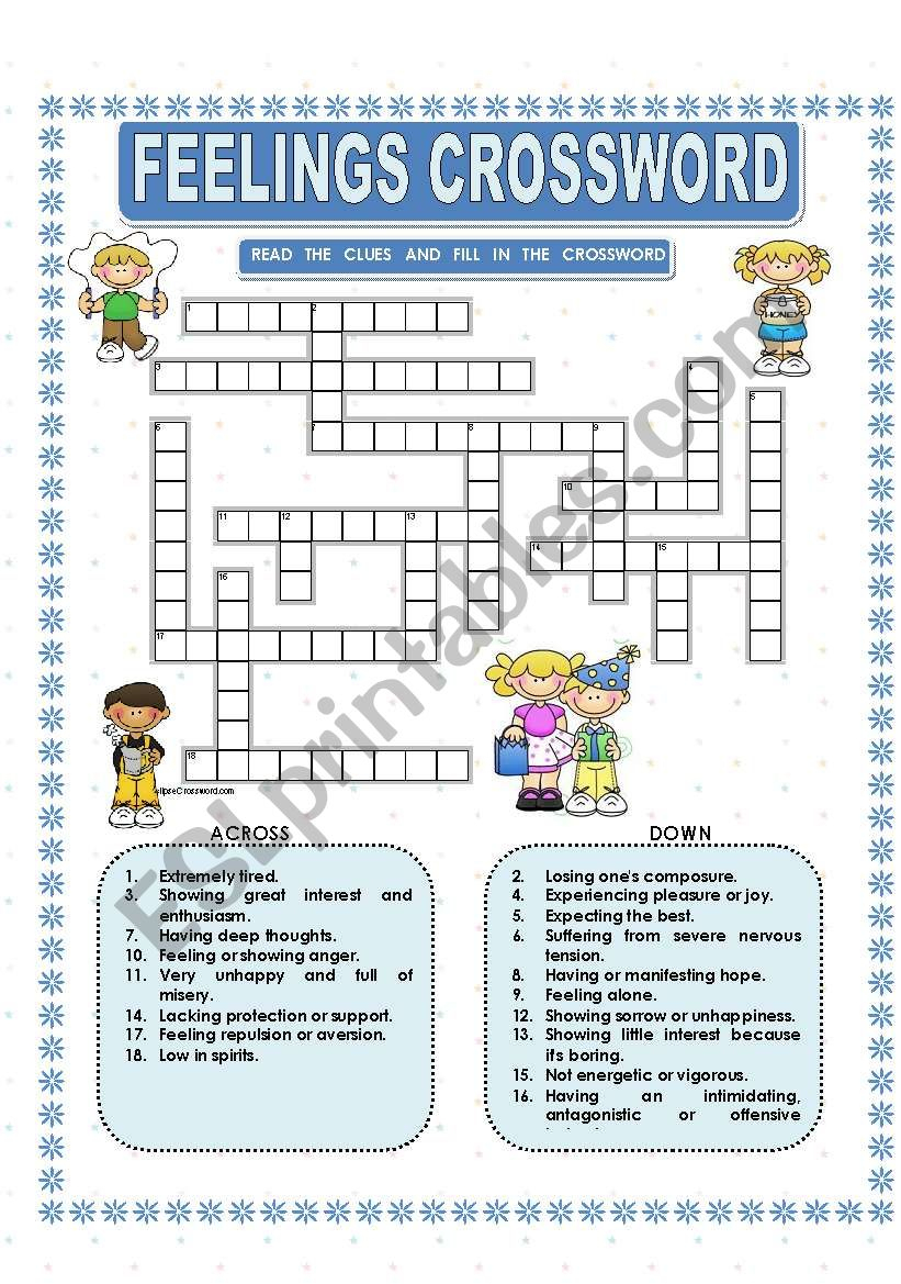 Feelings - Crossword - Esl Worksheetmacomabi - Printable Feelings Puzzle
