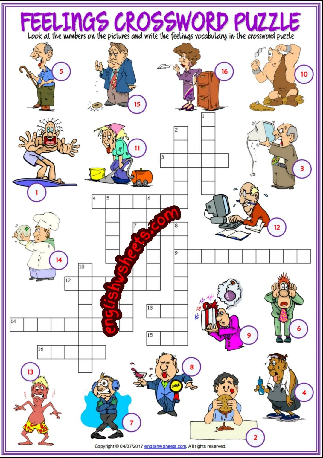 Feelings Emotions Esl Printable Crossword Puzzle Worksheets For Kids - Feelings Crossword Puzzle Printable