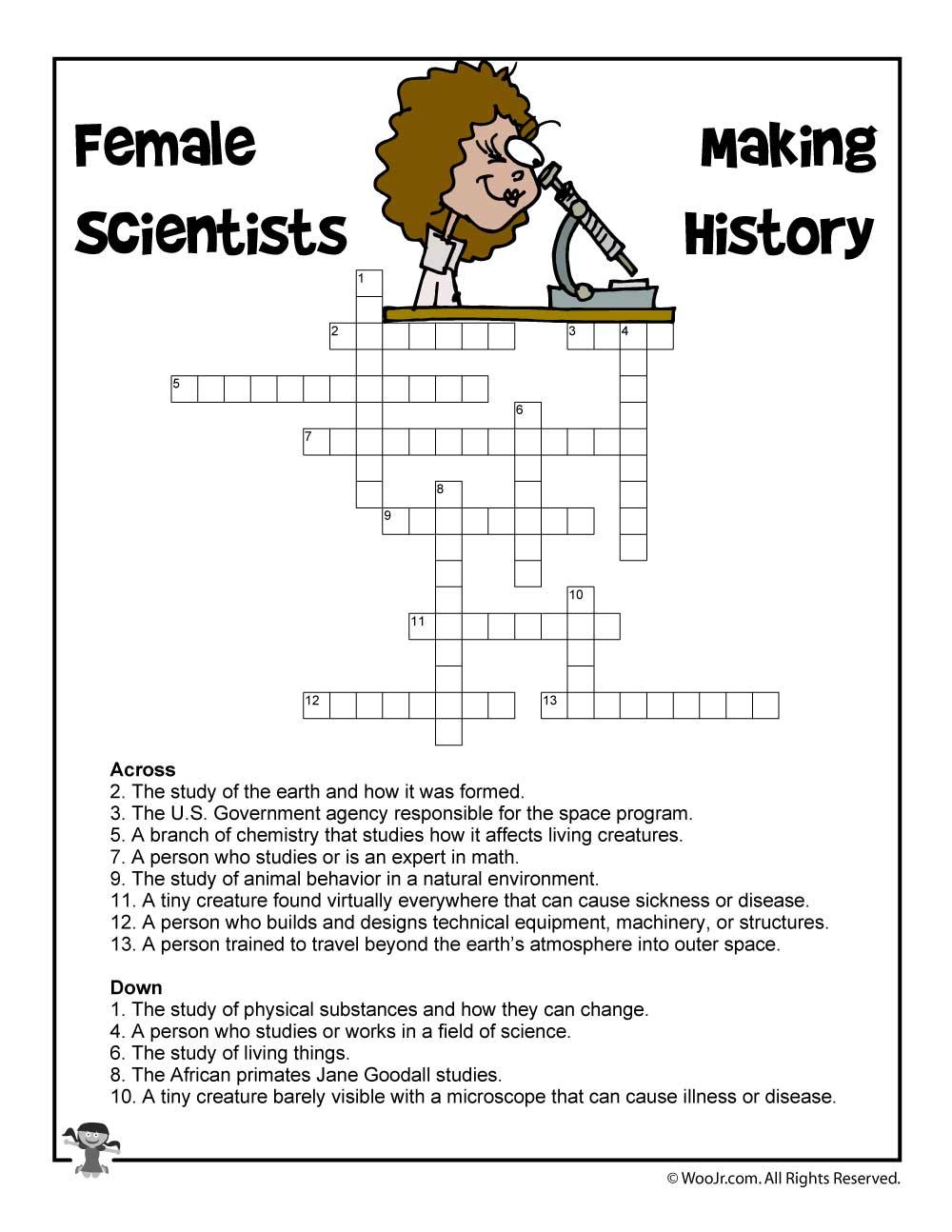 Female Scientists Crossword Puzzle | Woo! Jr. Kids Activities - Print Your Puzzle