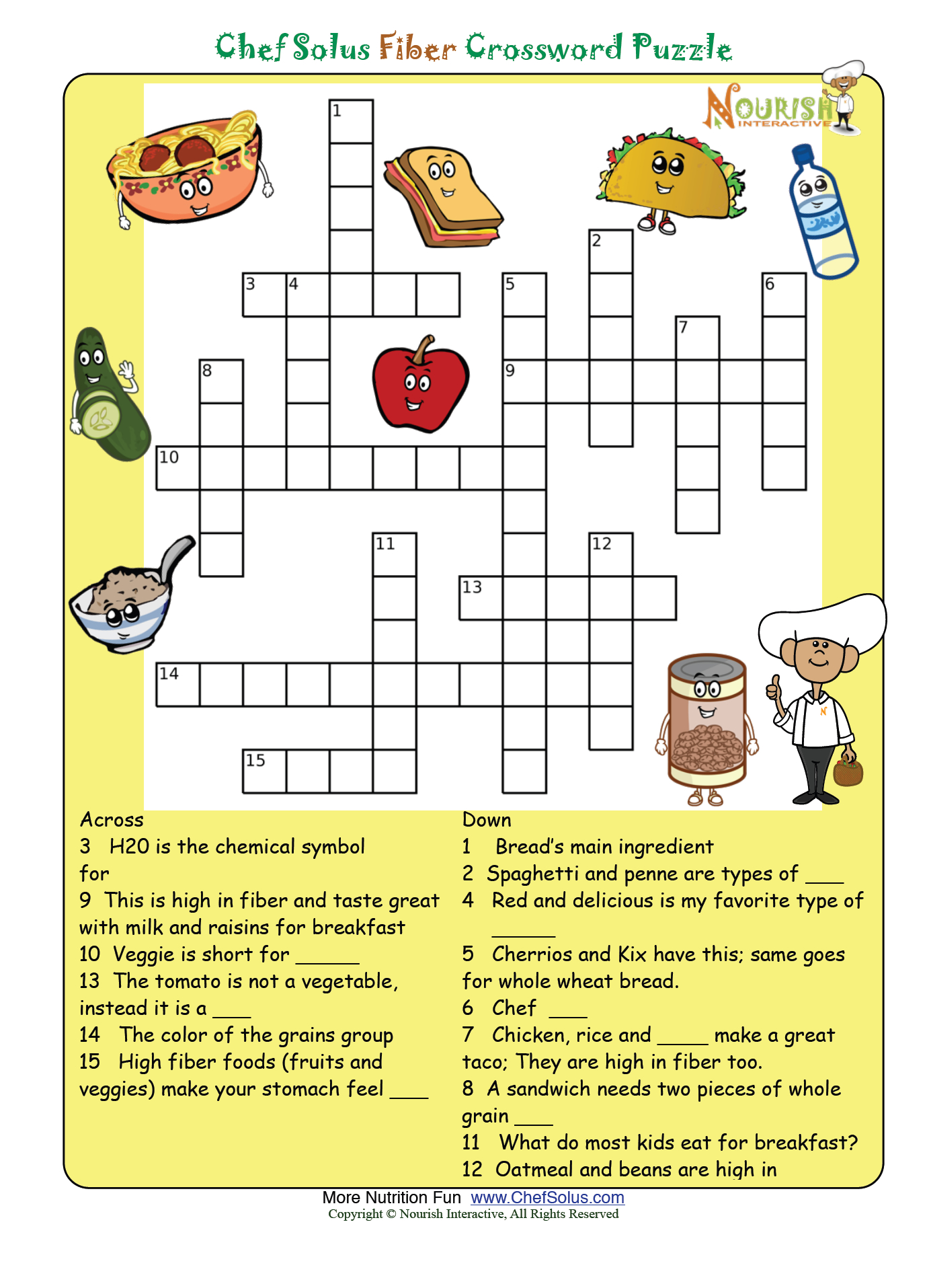 Fiber Puzzle * Please Make Sure To Print The Answer Key As Well - Nutrition Printable Puzzle