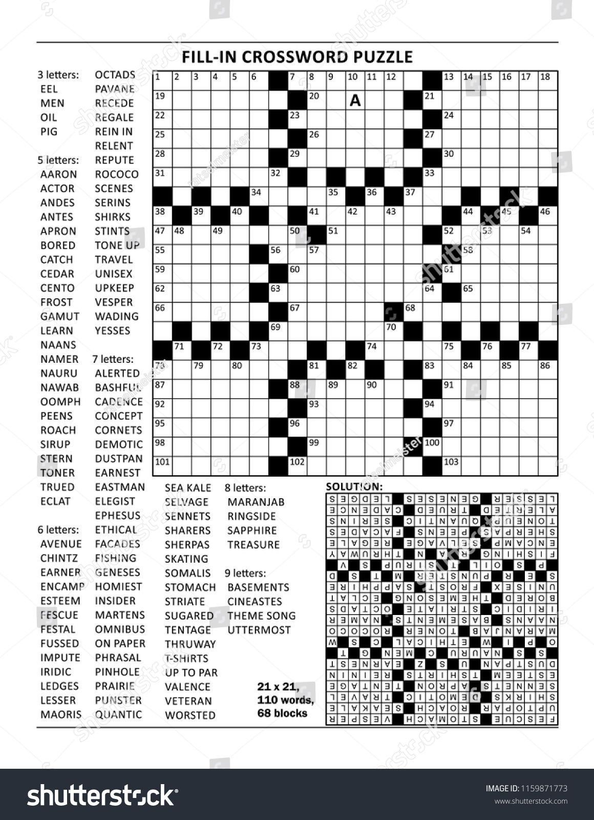 Fill In The Blanks Crossword Puzzle With American Style Grid Of - Printable Crossword Puzzle Grid