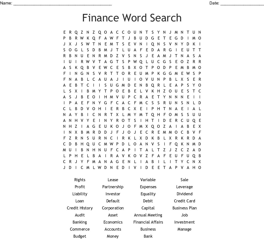 Finance Word Search - Wordmint - Printable Crossword Puzzles Business And Finance