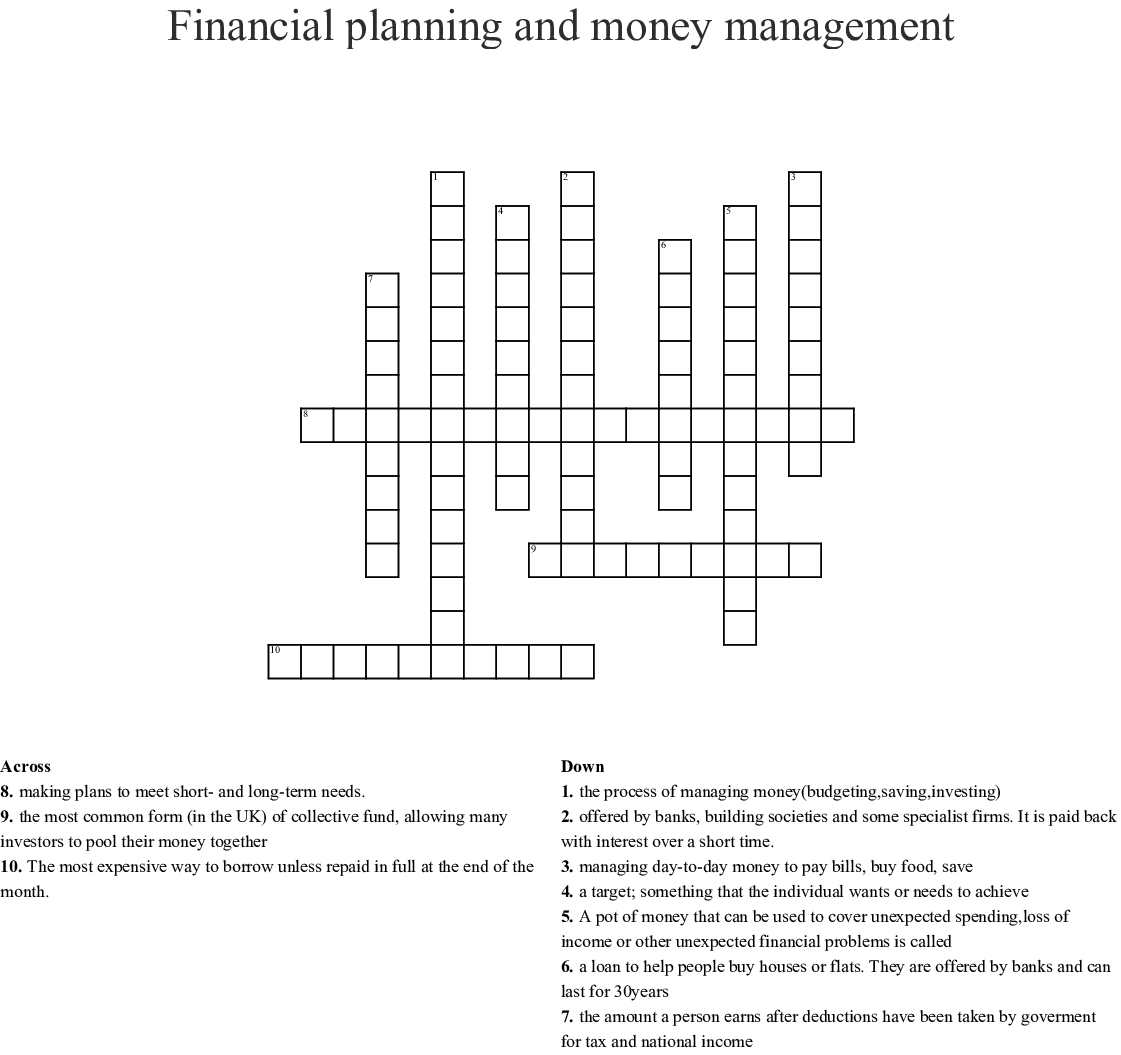 Financial Planning And Money Management Crossword - Wordmint - Printable Crossword Puzzle Money
