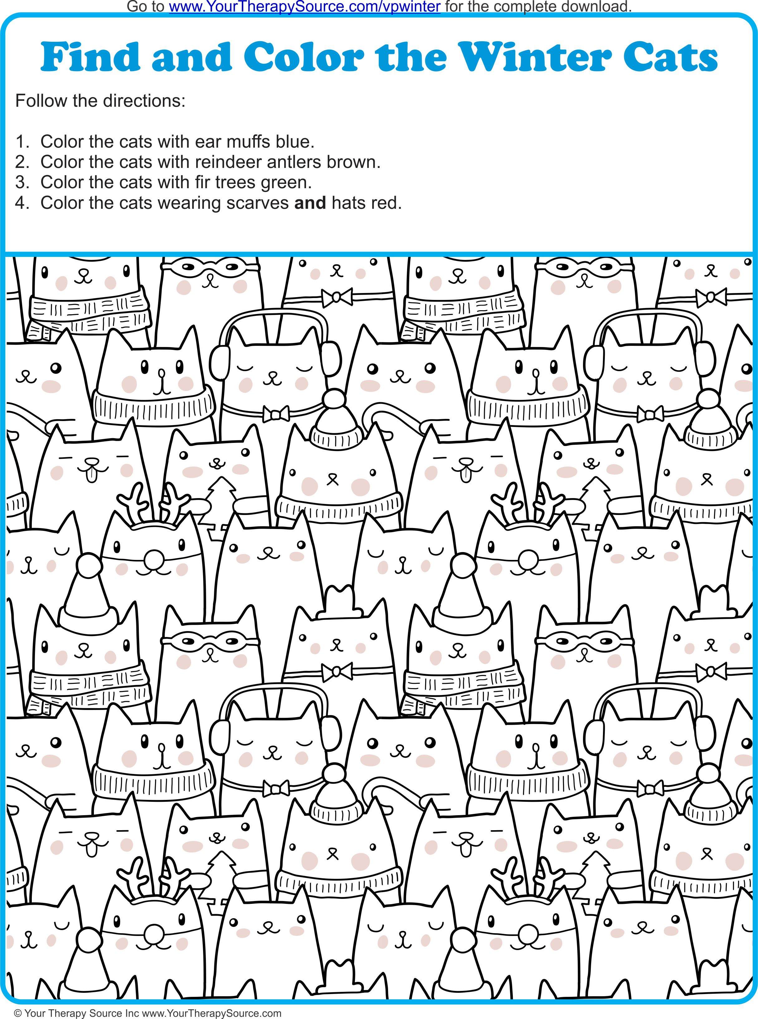 Find And Color The Winter Cats - Your Therapy Source - Free Printable Visual Puzzles