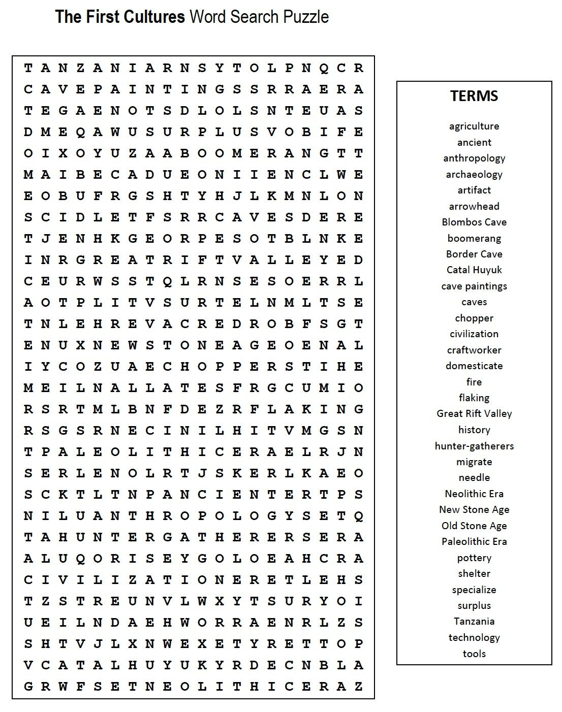 First Cultures Word Search | Teaching, Etc. | Word Search Puzzles - Printable Crossword Puzzles For 6Th Graders