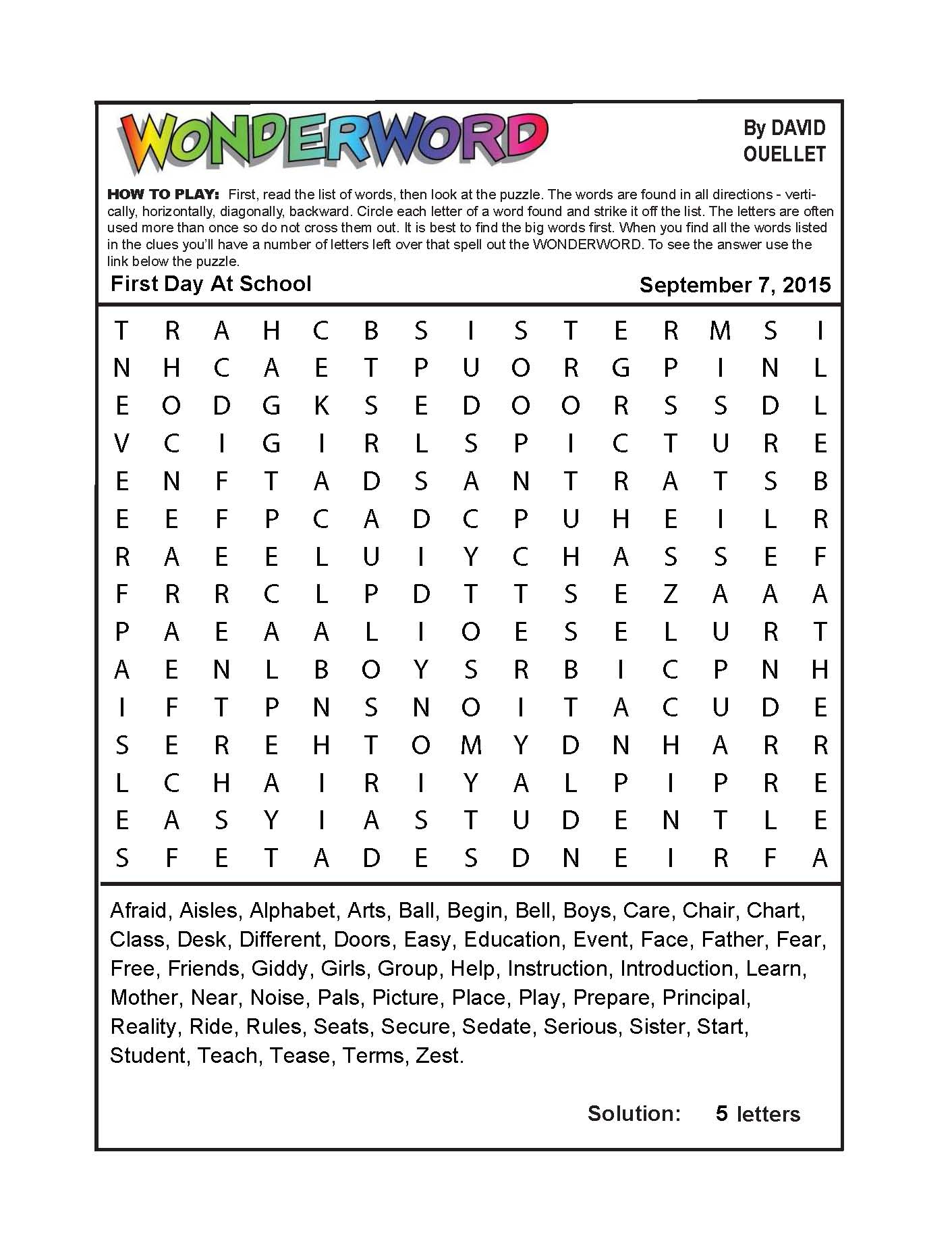 First Day At School - Printable Wonderword Puzzles Download