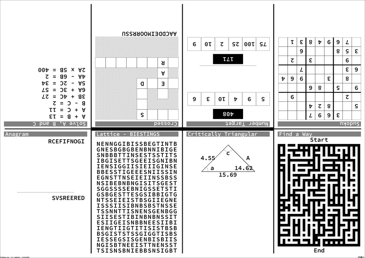 "Foldapuz On Twitter: ""a Selection Of Pen And Paper Puzzles For Today - Printable Puzzle Paper"