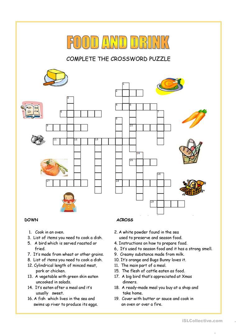 Food And Drink Crossword Worksheet - Free Esl Printable Worksheets - Printable Crossword Food