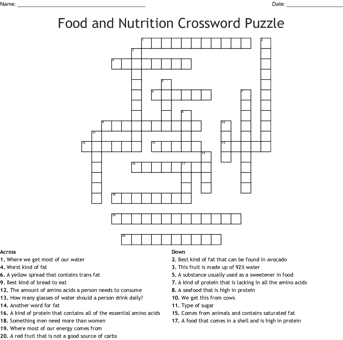 Food And Nutrition Crossword Puzzle Crossword - Wordmint - Nutrition Printable Puzzle
