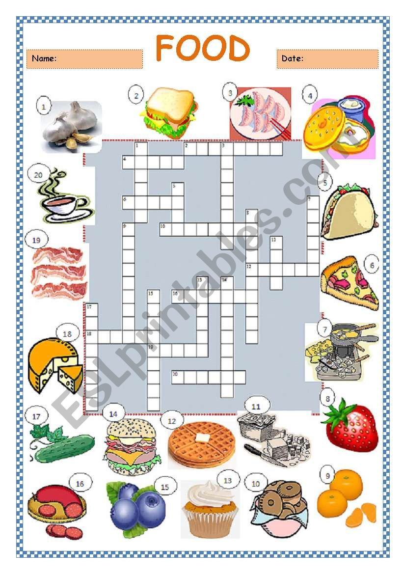 Food Crossword Puzzle - Esl Worksheetlimetree22 - Printable Crossword Puzzles About Food