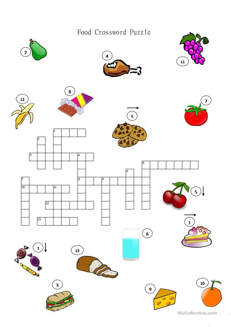 Food Crossword Puzzle Worksheet - Free Esl Printable Worksheets Made - Esl Crossword Puzzles Printable