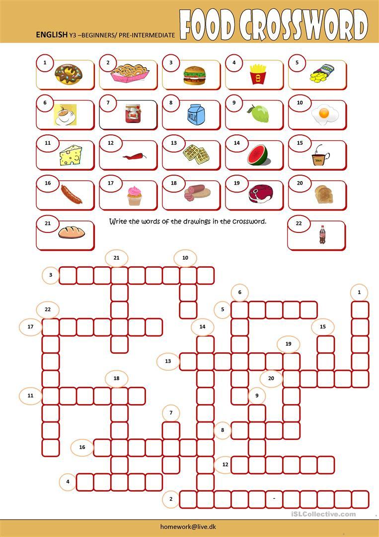 Food Crossword Worksheet - Free Esl Printable Worksheets Made - Printable Crosswords For Learning English