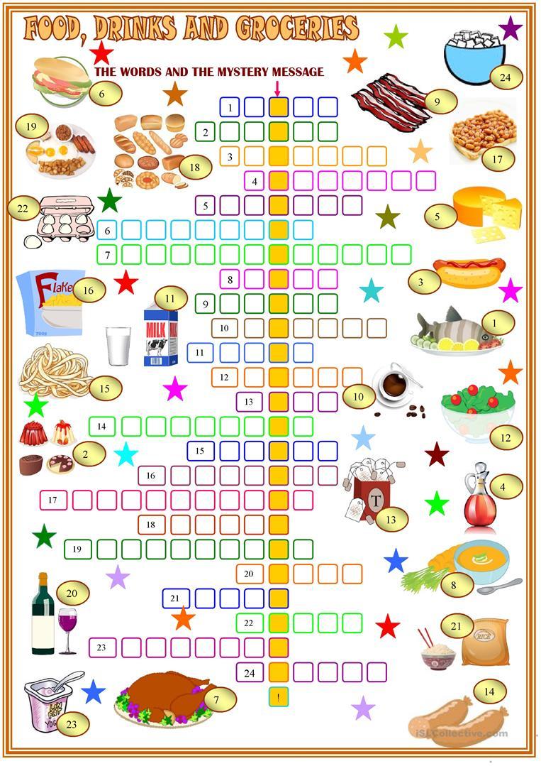 Food ,drinks And Groceries Crosswords Worksheet - Free Esl Printable - Printable Crossword Food