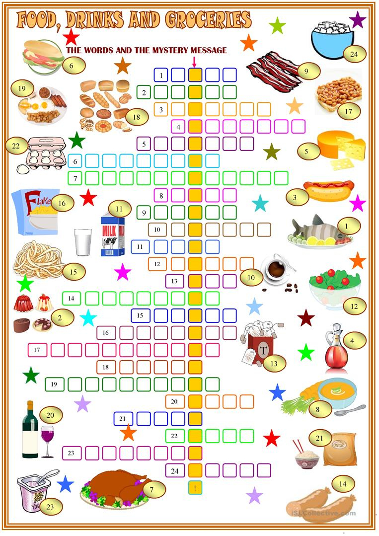 Food ,drinks And Groceries Crosswords Worksheet - Free Esl Printable - Printable Crossword Puzzles About Food