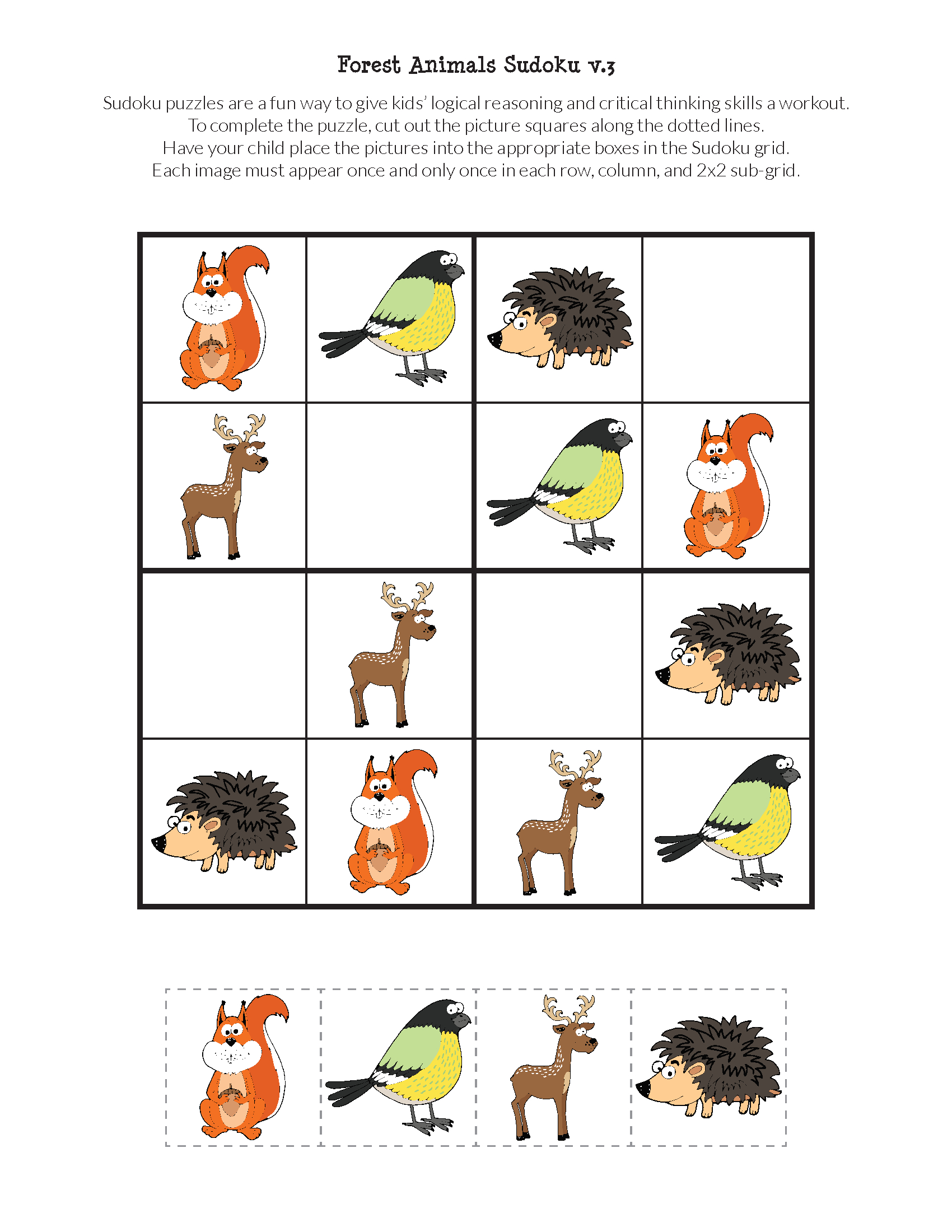 Forest Animals Sudoku {Free Printables} - Gift Of Curiosity - Printable Animal Puzzles
