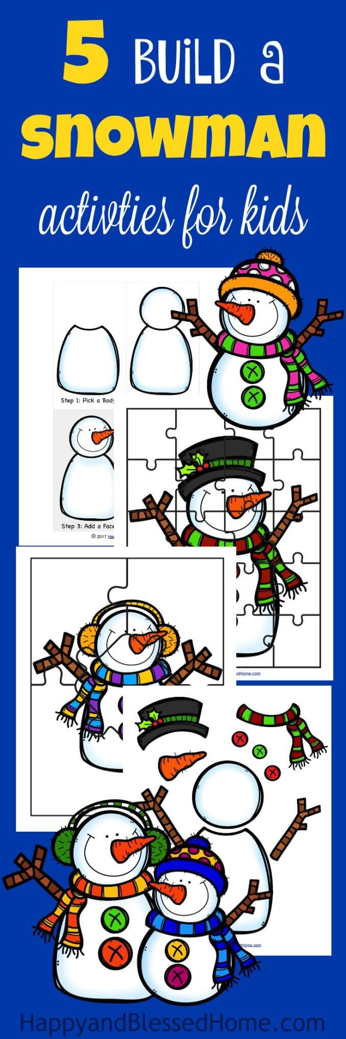 Free 5 Build A Snowman Activities Printable Pack - Happy And Blessed - Printable Snowman Puzzle