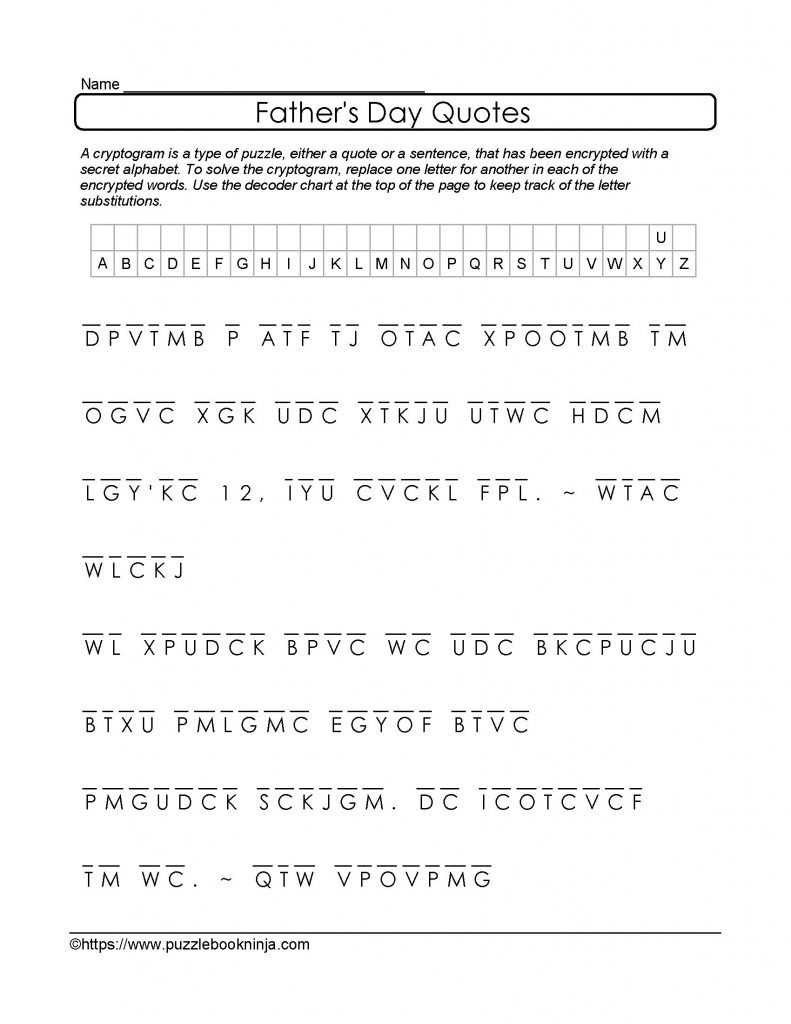 Free And Printable Father's Day Cryptogram. Quotes About Dad - Free - Printable Decoder Puzzles