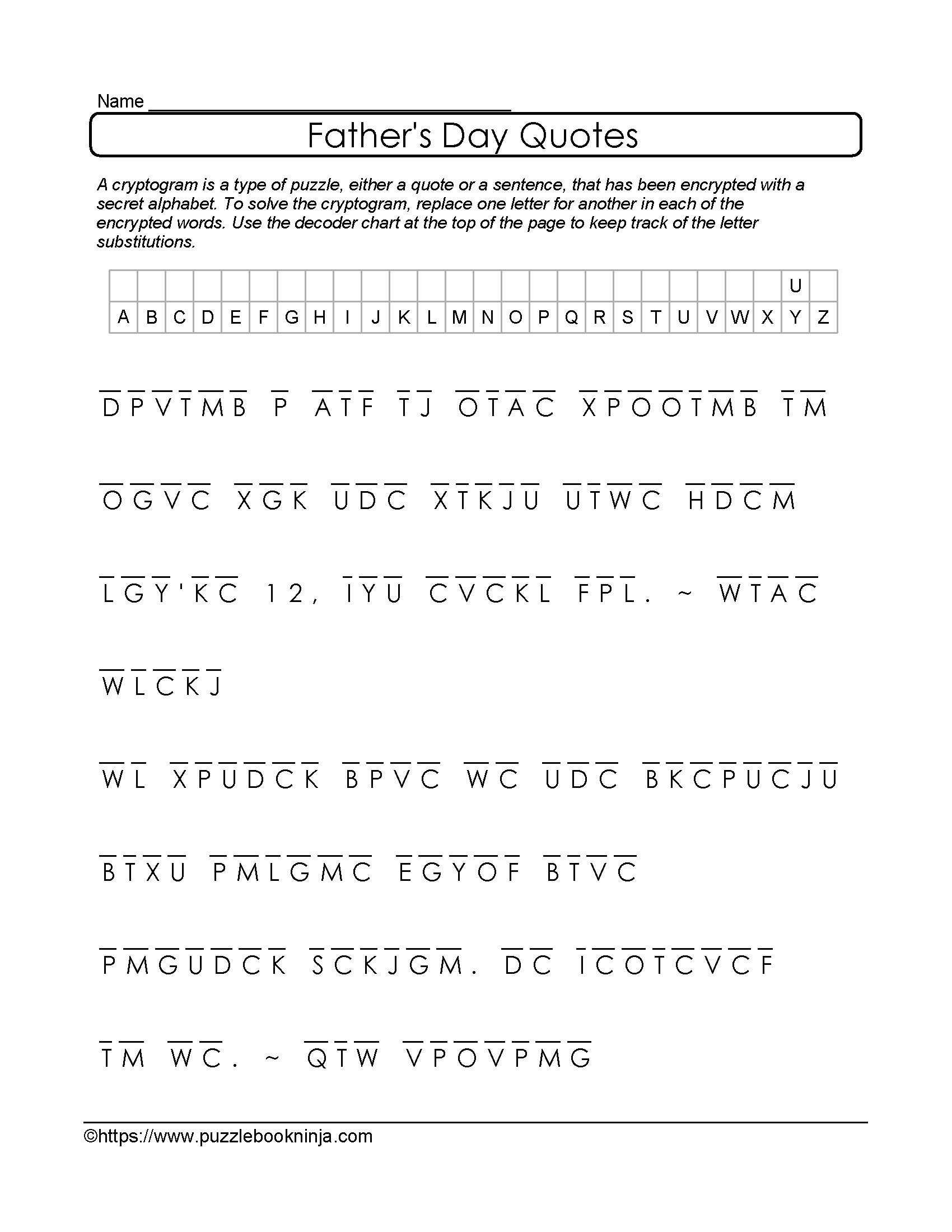 Free And Printable Father's Day Cryptogram. Quotes About Dad - Free - Printable Quiptoquip Puzzles