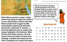 Free Bible Worksheet   Moses (Land Of Goshen) | Bible Quiz | Bible   Printable Puzzles On Moses