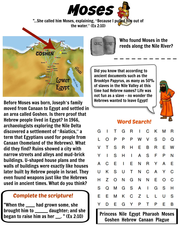 Free Bible Worksheet - Moses (Land Of Goshen) | Bible Quiz | Bible - Printable Puzzles On Moses
