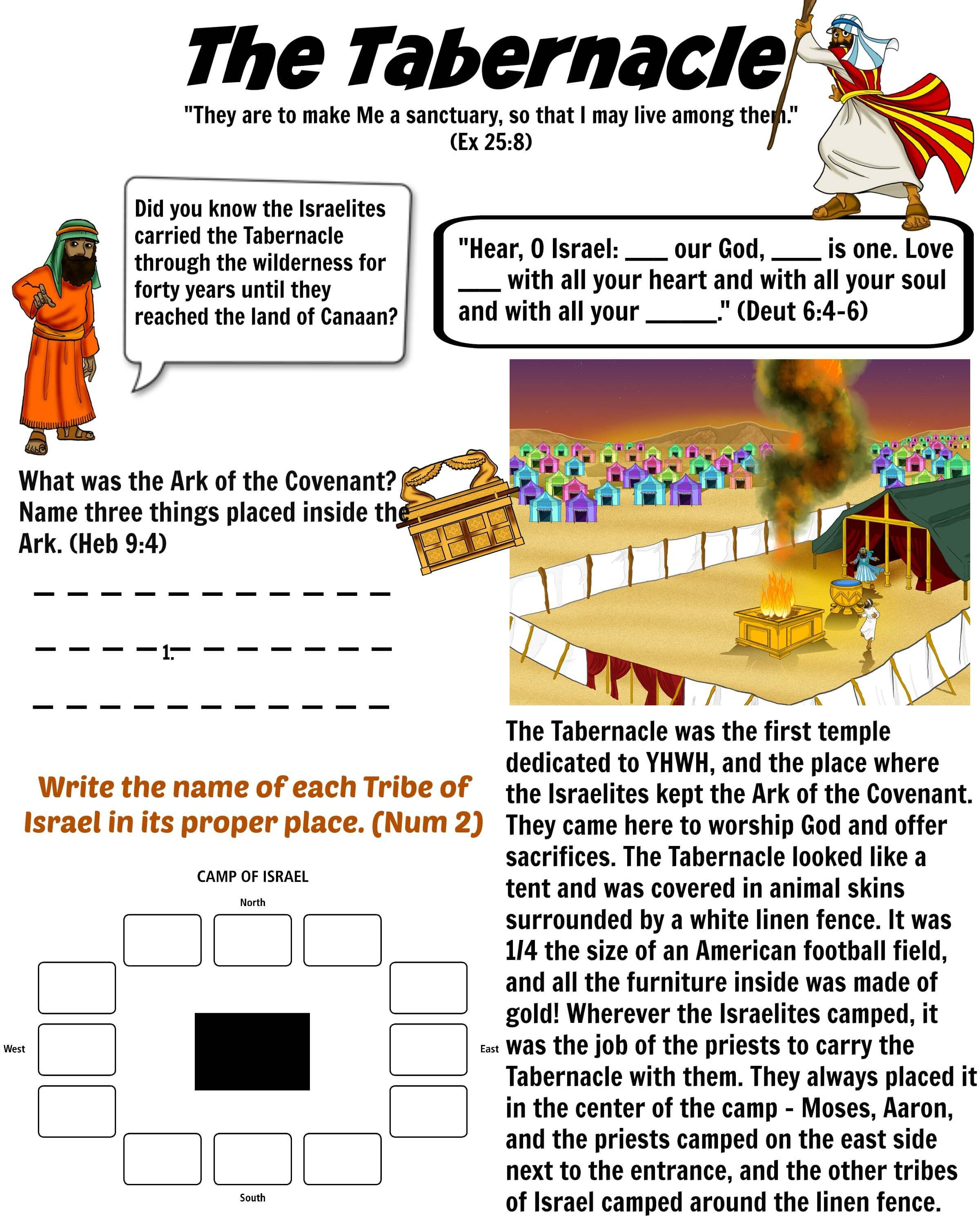 Free Bible Worksheet - The Tabernacle | Moses | Sabbath School - Printable Puzzles On Moses