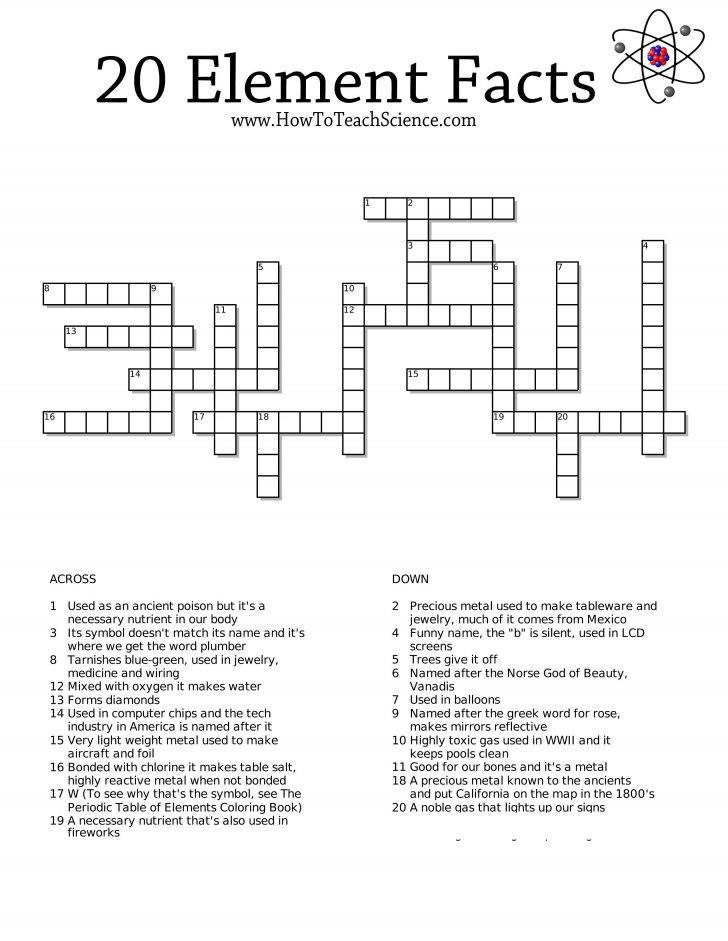 Science Crossword Puzzles Printable