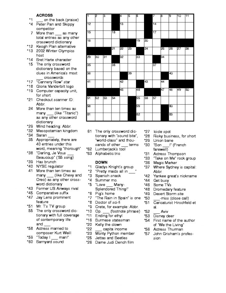 Free Daily Printable Crossword Puzzles November 2016