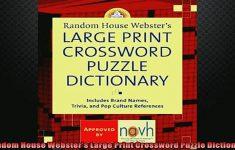 Free Download Random House Websters Large Print Crossword Puzzle   Large Print Crossword Puzzle Dictionary
