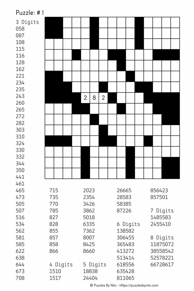 Free Downloadable Number Fill In Puzzle - # 001 - Get Yours Now - Printable Cross Number Puzzle