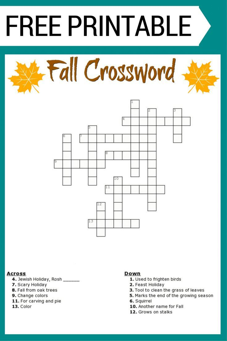 Free #fall Crossword Puzzle #printable Worksheet Available With And - Printable Holiday Puzzles