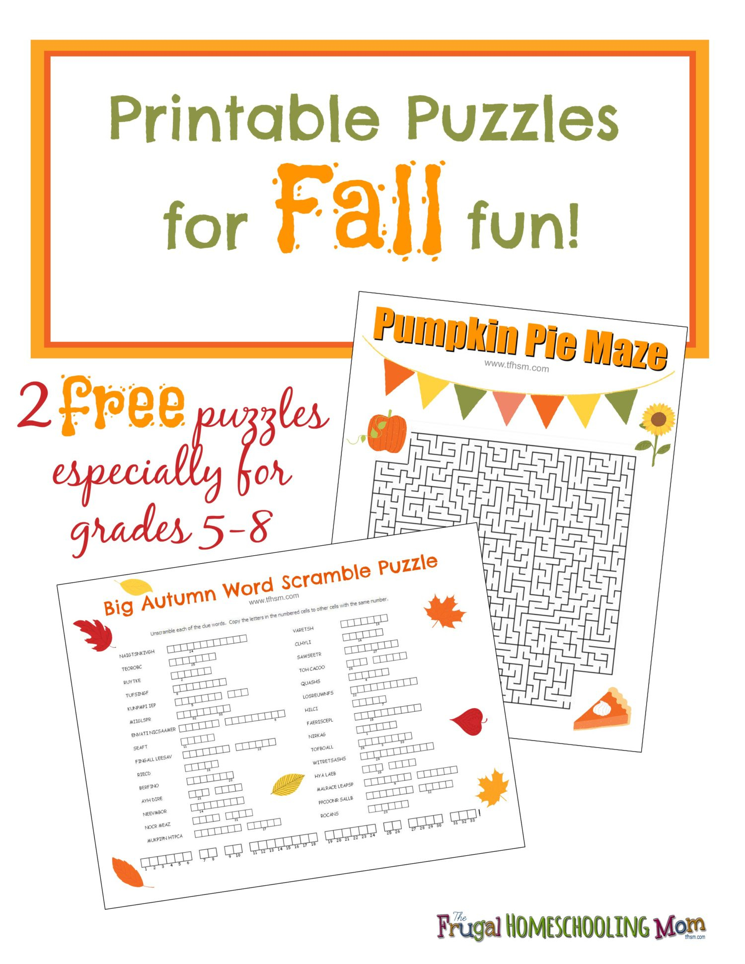 Free Fall Printable Puzzles – The Frugal Homeschooling Mom Aka Tfhsm - Printable Puzzles Middle School