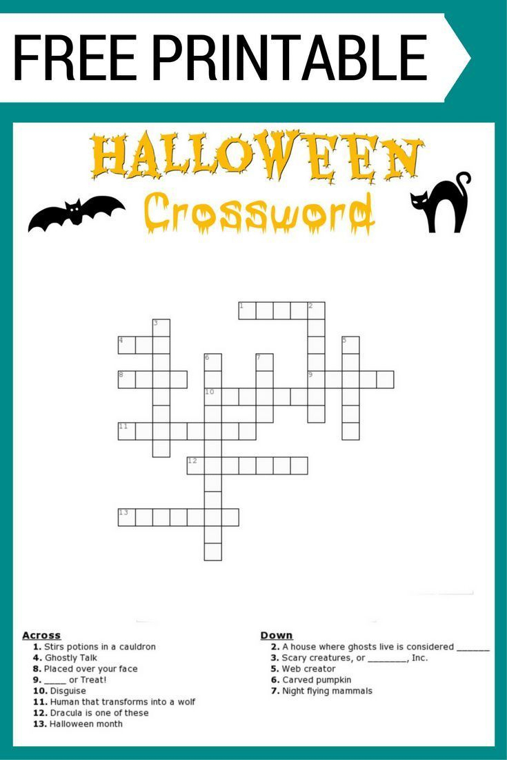 Free Halloween Crossword Puzzle #printable Worksheet Available Both - Halloween Crossword Puzzle Printable 3Rd Grade