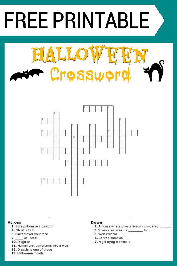 Free Halloween Crossword Puzzle Printable Worksheet Available With - Printable Halloween Crossword