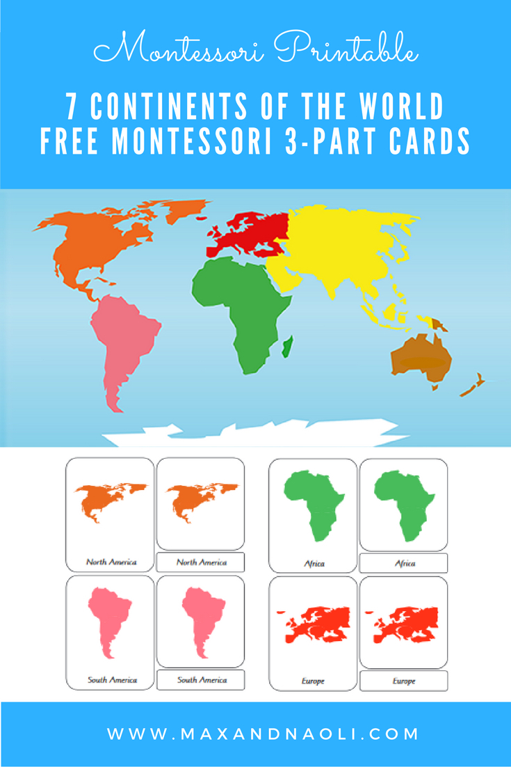 Free-Montessori-Printable-7-Continents-Of-The-World-3-Part - 7 Continents Printable Puzzle