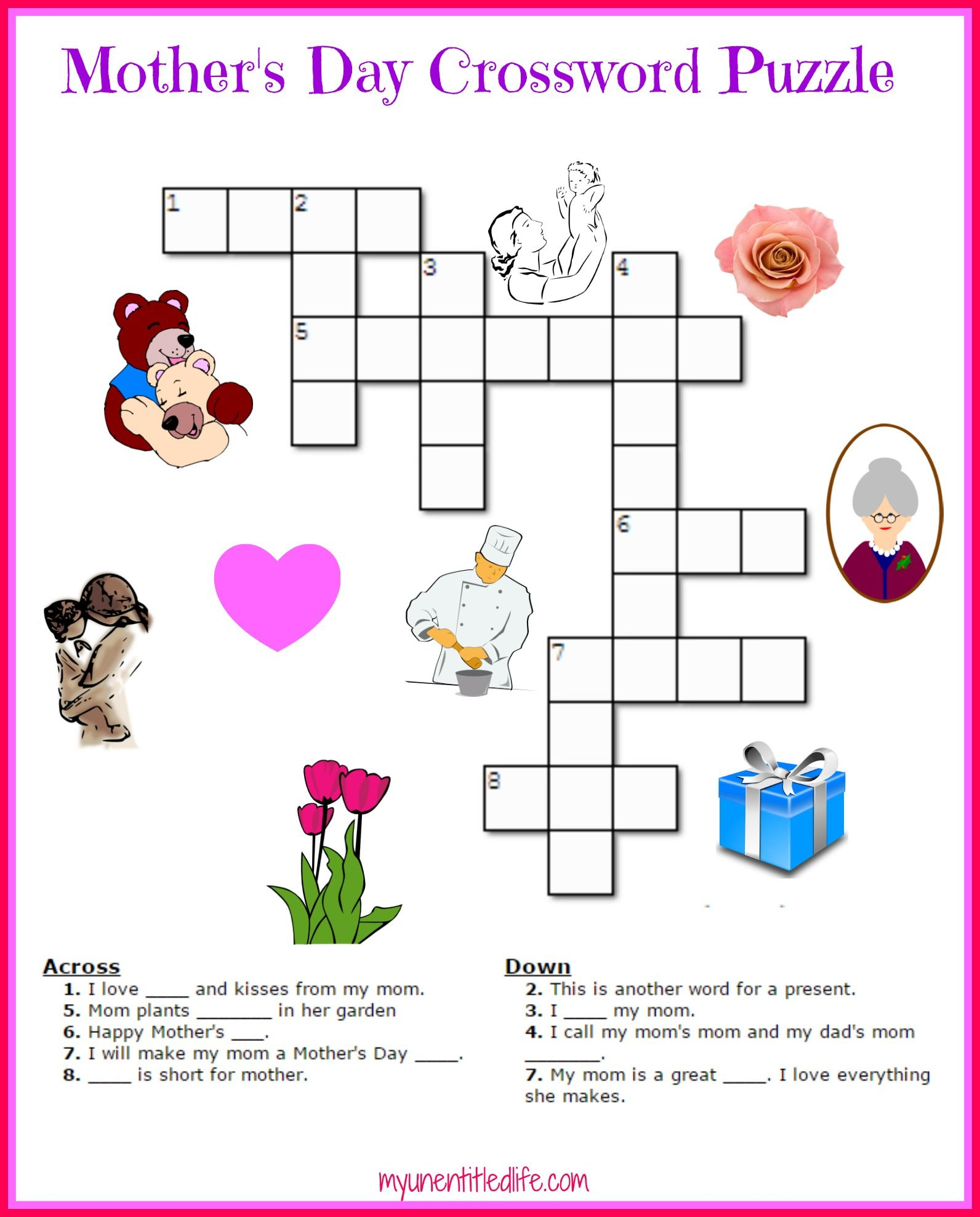 Free Mother's Day Crossword Puzzle Printable | Crafts For Kids - Printable Crossword Of The Day