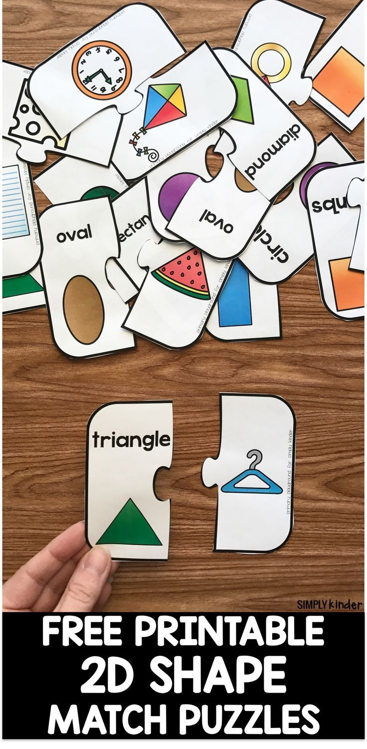 Free Printable 2D Shape Puzzles | Simply Kinder Blog Posts | Shape - Printable Puzzles Preschool