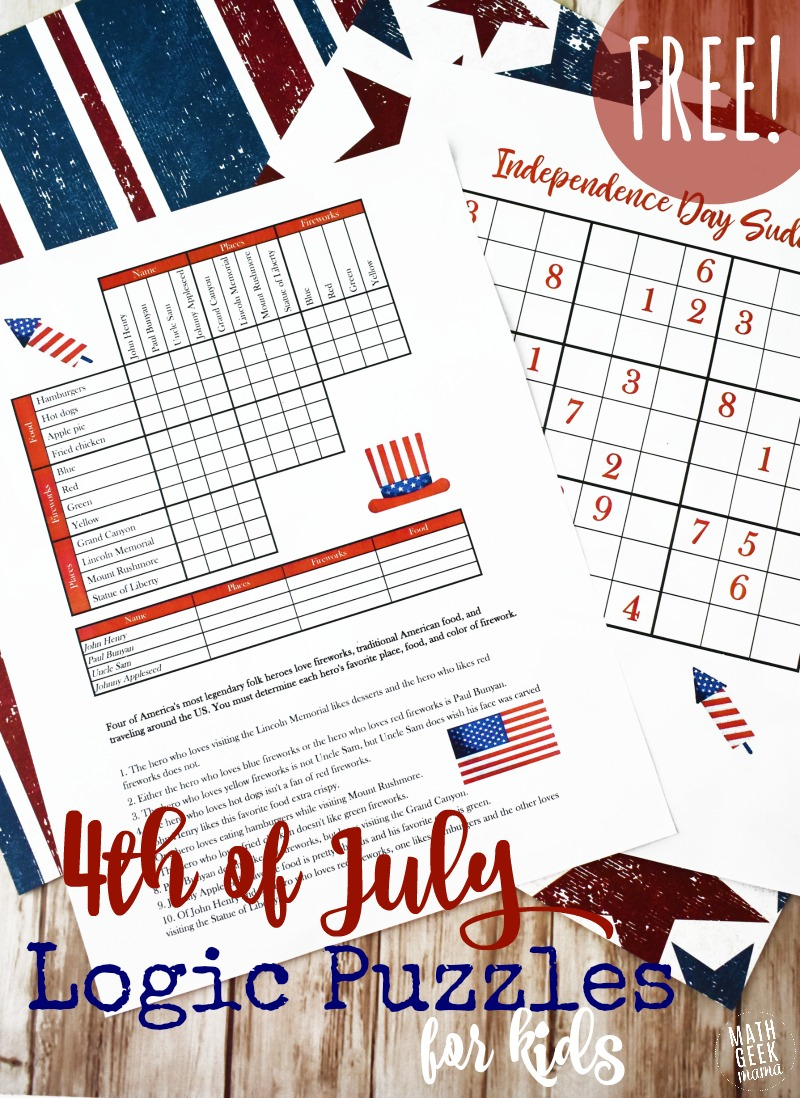 Free Printable 4Th Of July Logic Puzzles For Kids - Money Saving Mom - Printable July 4Th Puzzles