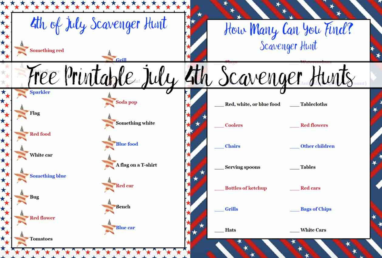 Free Printable 4Th Of July Scavenger Hunts: 2 Different Types - Printable 4Th Of July Crossword Puzzle