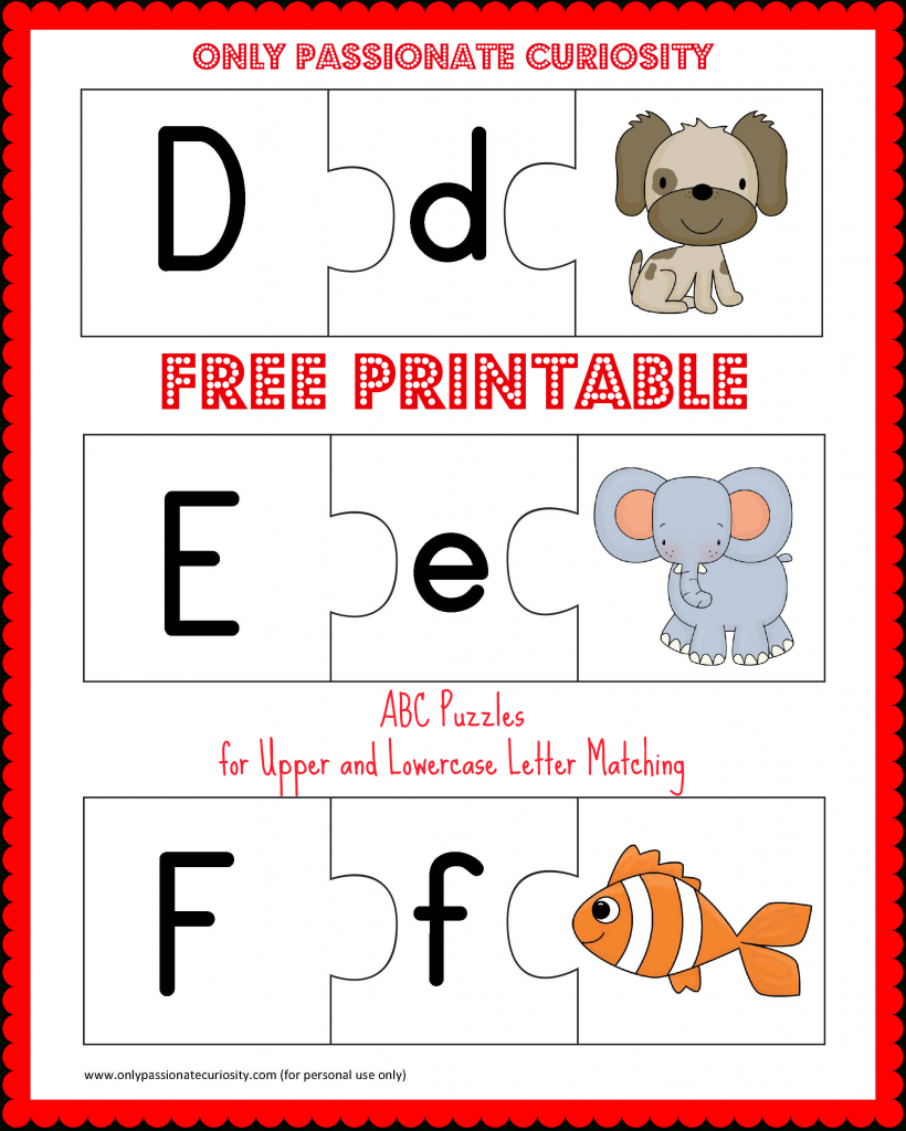 Free Printable Abc Puzzles | School Is Fun | Upper, Lowercase - Printable Letter Puzzles